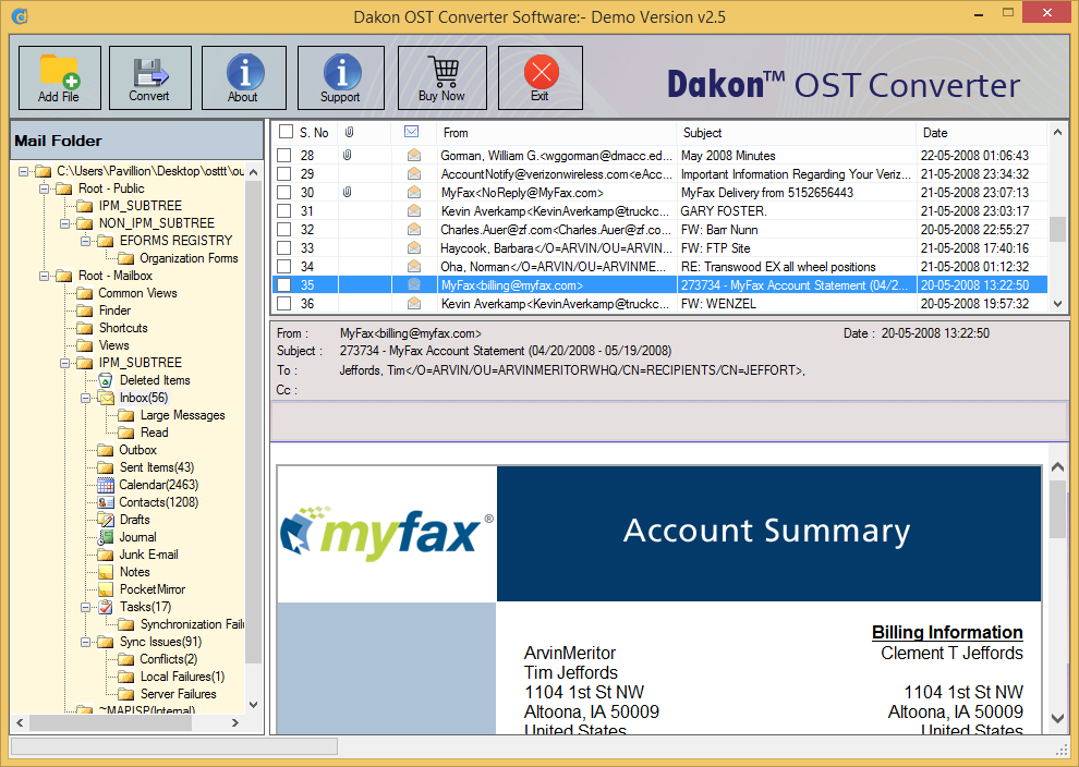 Windows 7 Open OST File in Outlook 2.5 full